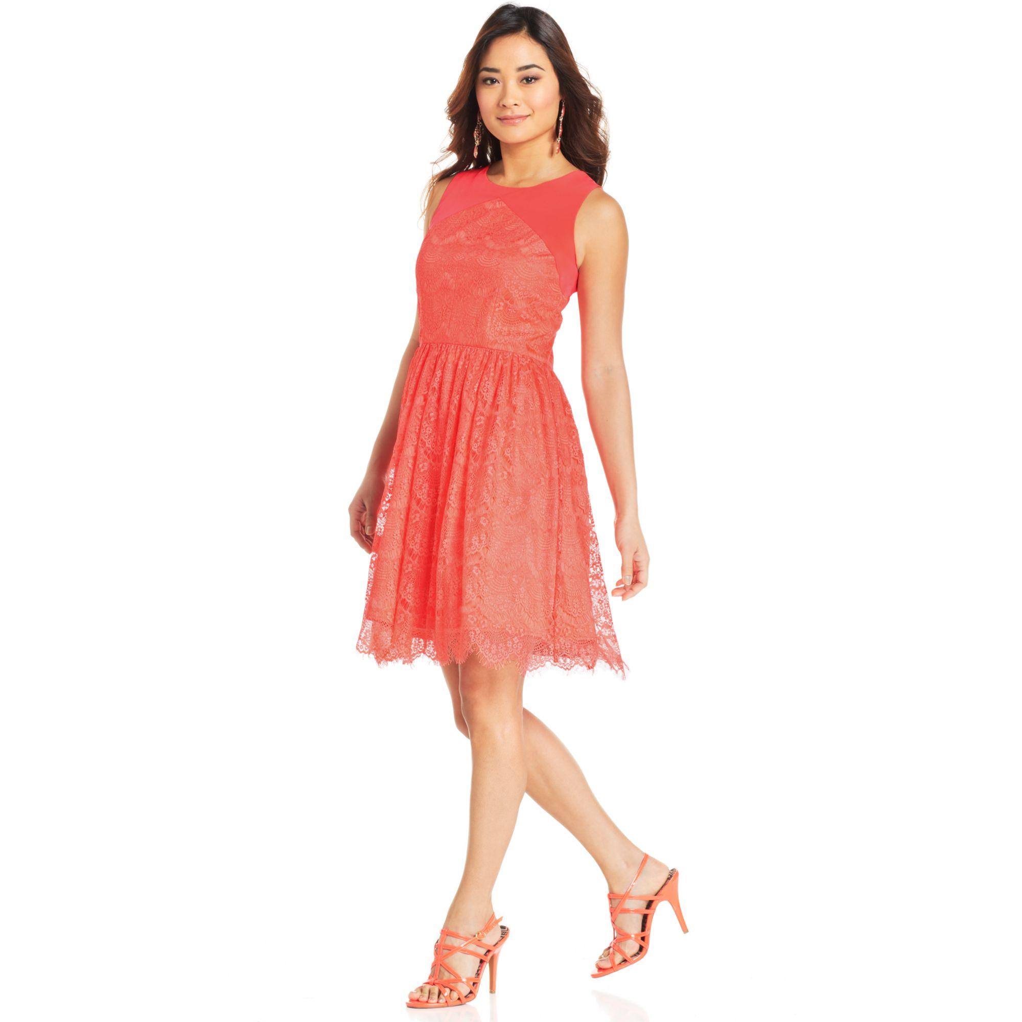 jessica simpson sleeveless cutout lace dress in orange