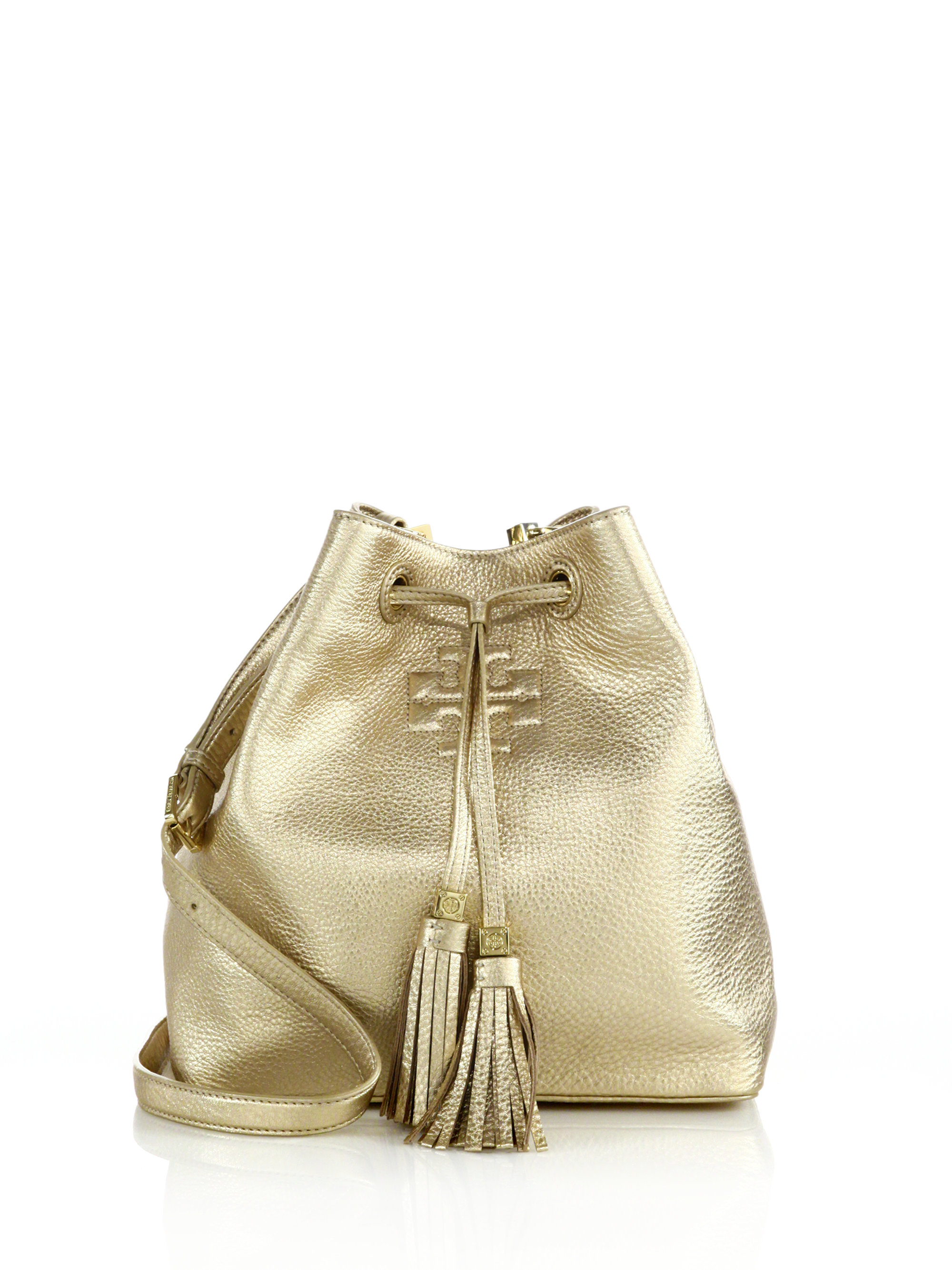 f75f1e85e715 ... cheap lyst tory burch thea metallic leather bucket bag in metallic  f808f 89976