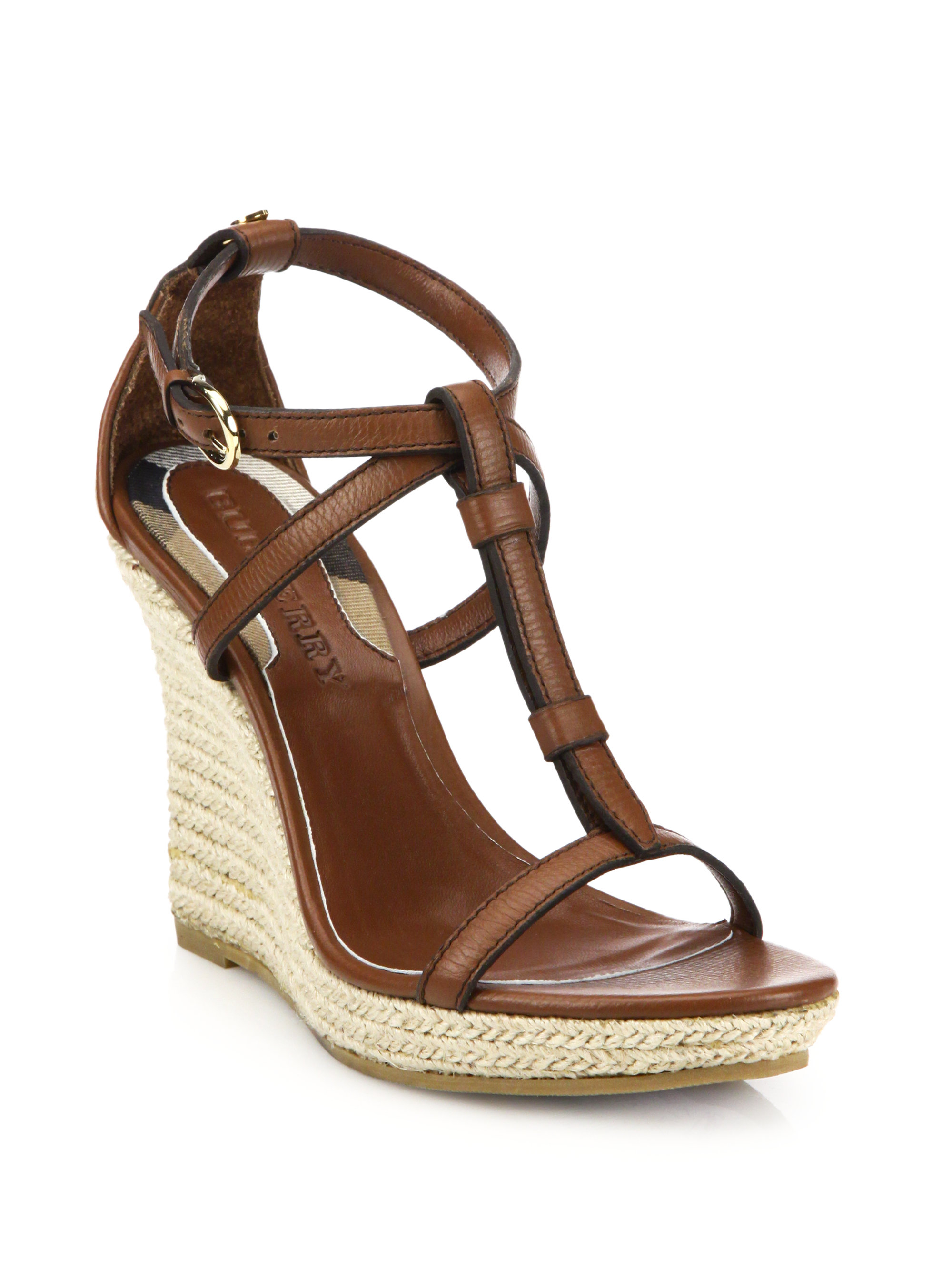 633f9460574 Lyst - Burberry Wedland Leather Wedge Espadrilles in Brown