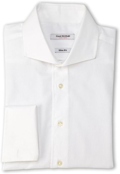 Isaac mizrahi white pin dot slim fit french cuff dress White french cuff shirt slim fit