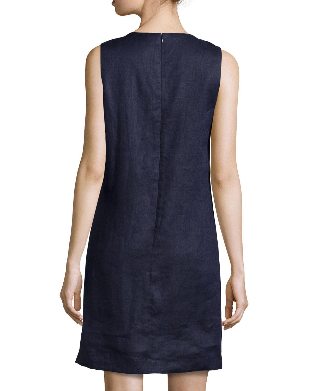 71fa2b8ba7b Lyst - Neiman Marcus Sleeveless Linen Shift Dress in Blue