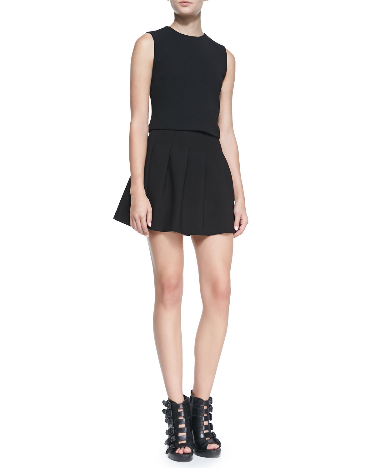 Alice   olivia Jersey High-Waist Fit-&-Flared Skirt in Black | Lyst