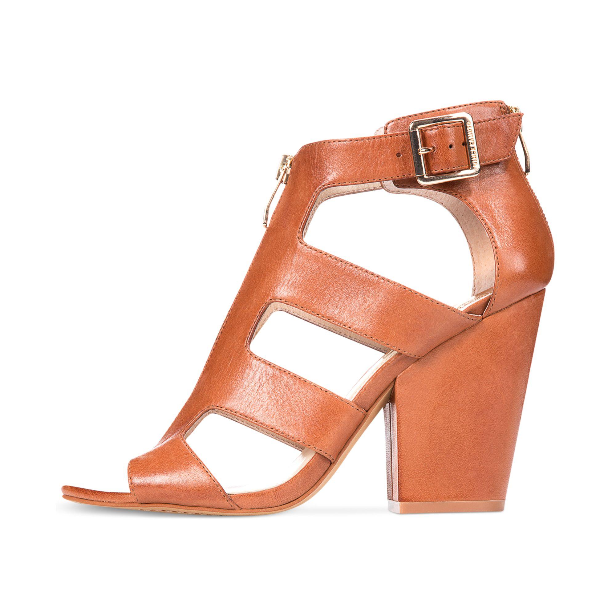 Lyst Vince Camuto Marleau Block Heel Sandals In Brown