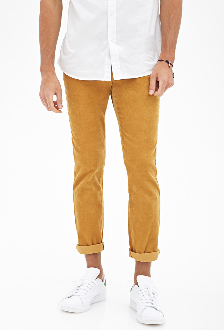 Forever 21 Classic Corduroy Pants in Yellow for Men | Lyst