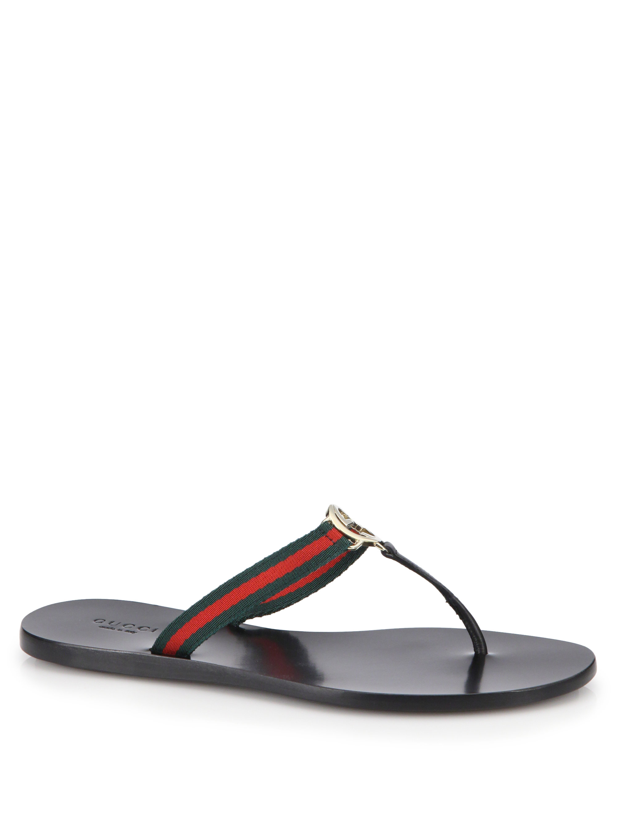 Gucci New Gg Canvas & Leather Signature Thong Sandals | Lyst