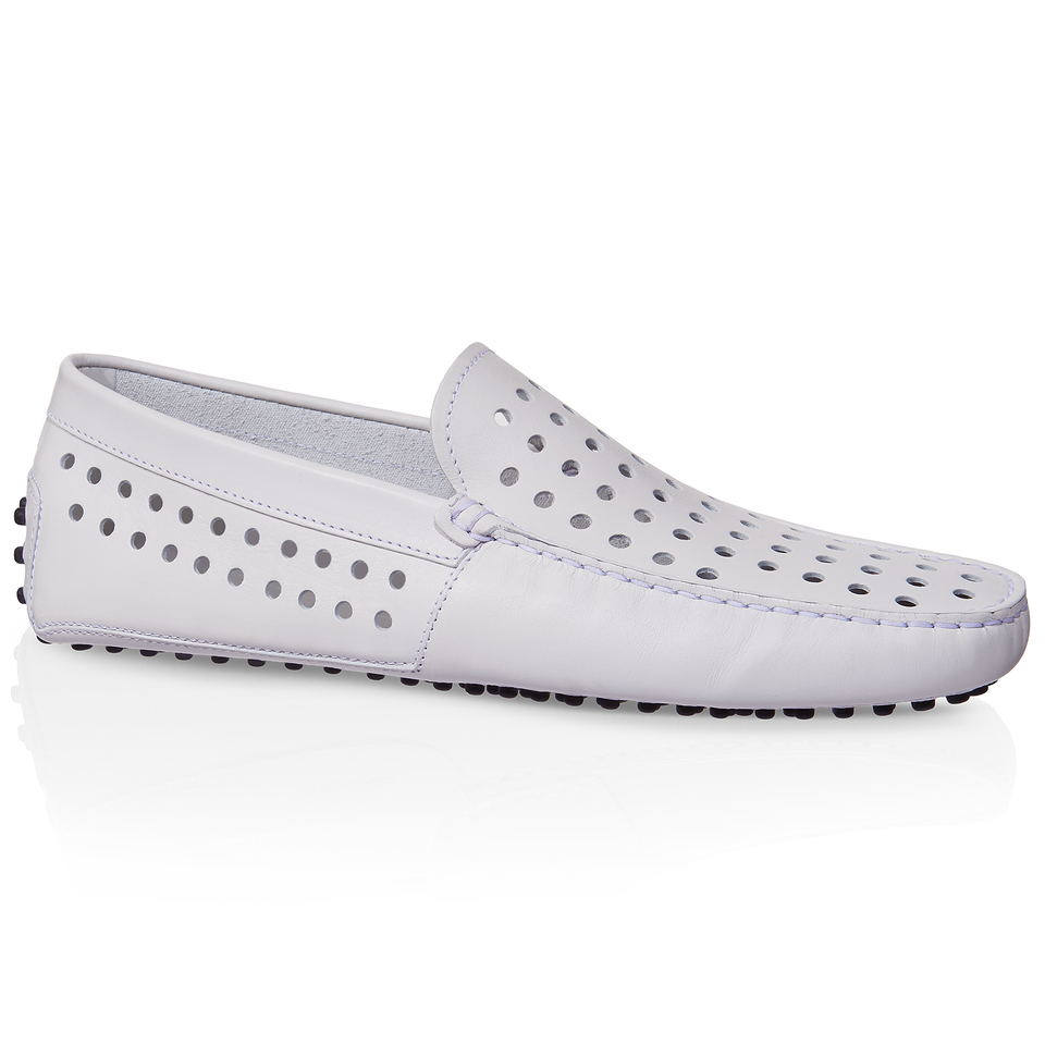 tod s leather gommino driving shoes in white for lyst