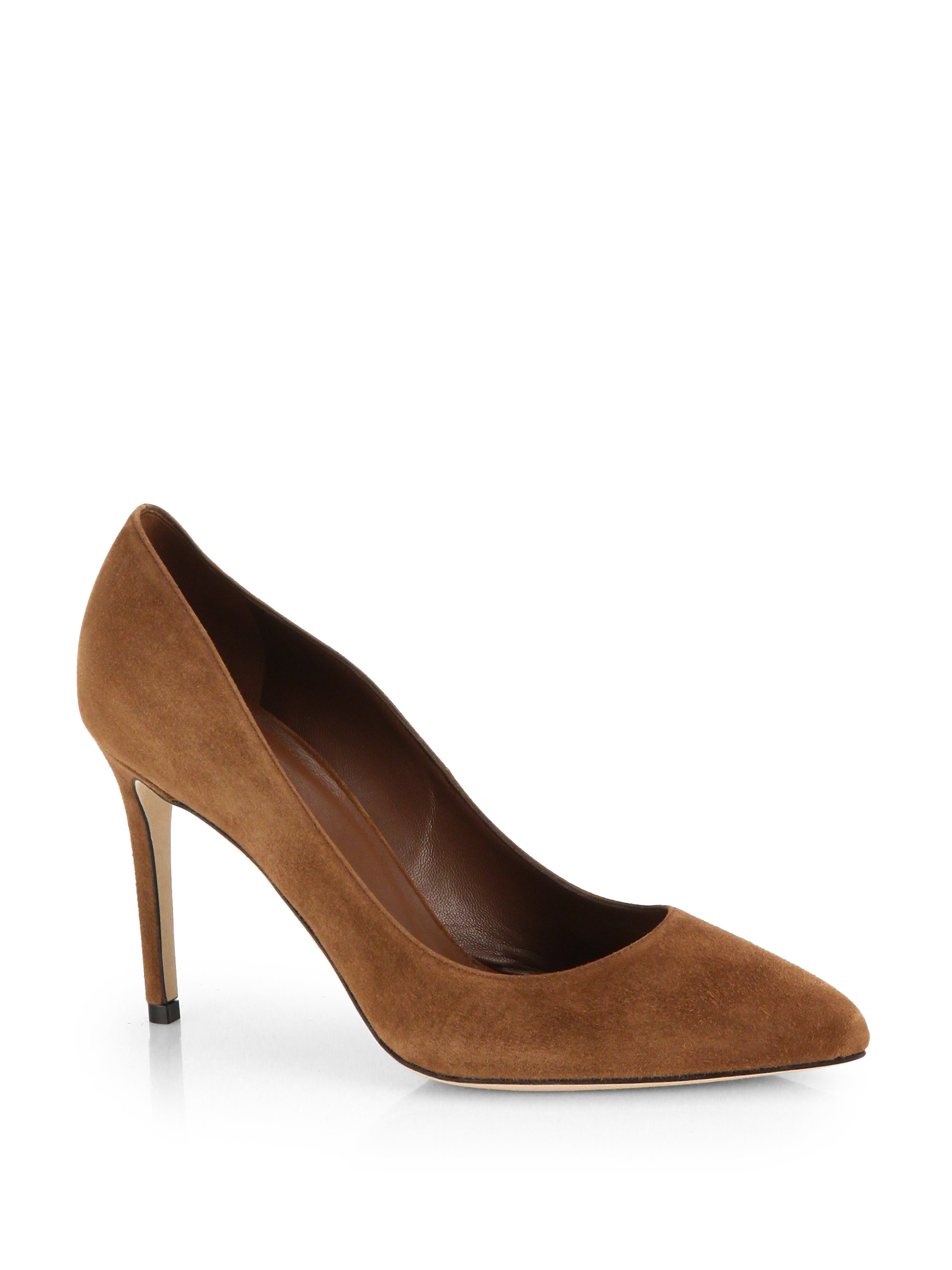 Lyst Gucci Suede Pointtoe Pumps In Brown
