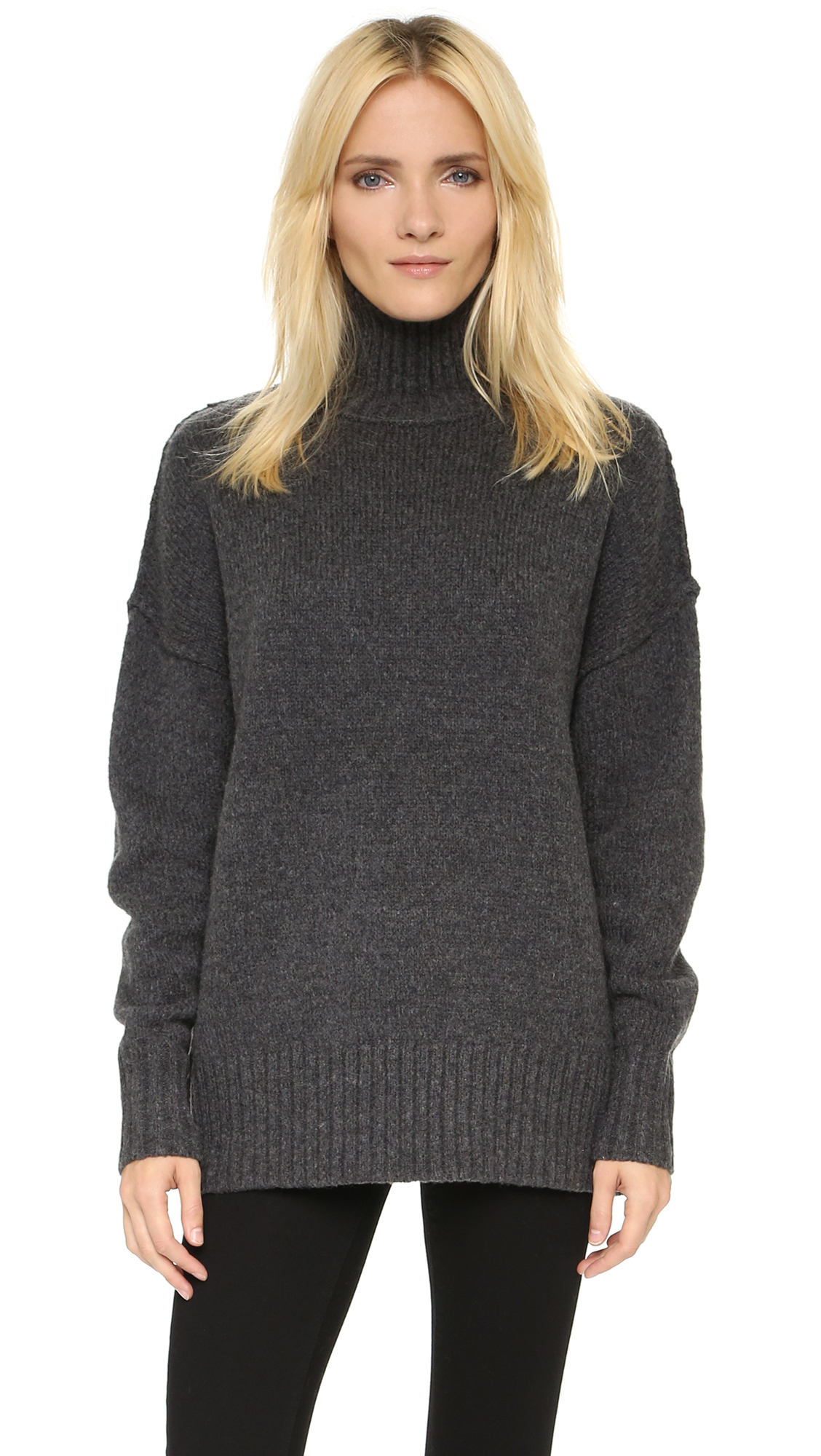 Nlst Oversize Turtleneck Sweater in Gray | Lyst