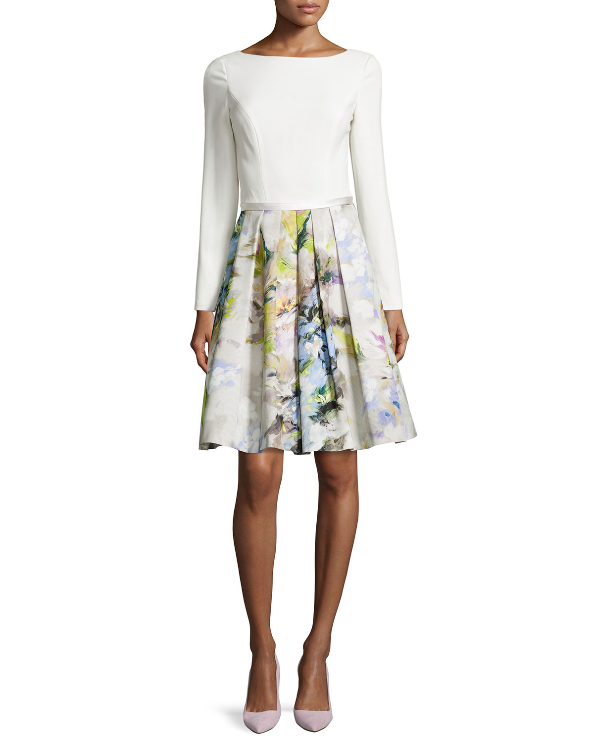 Lyst - Theia Long-sleeve Floral Pleated-skirt Dress