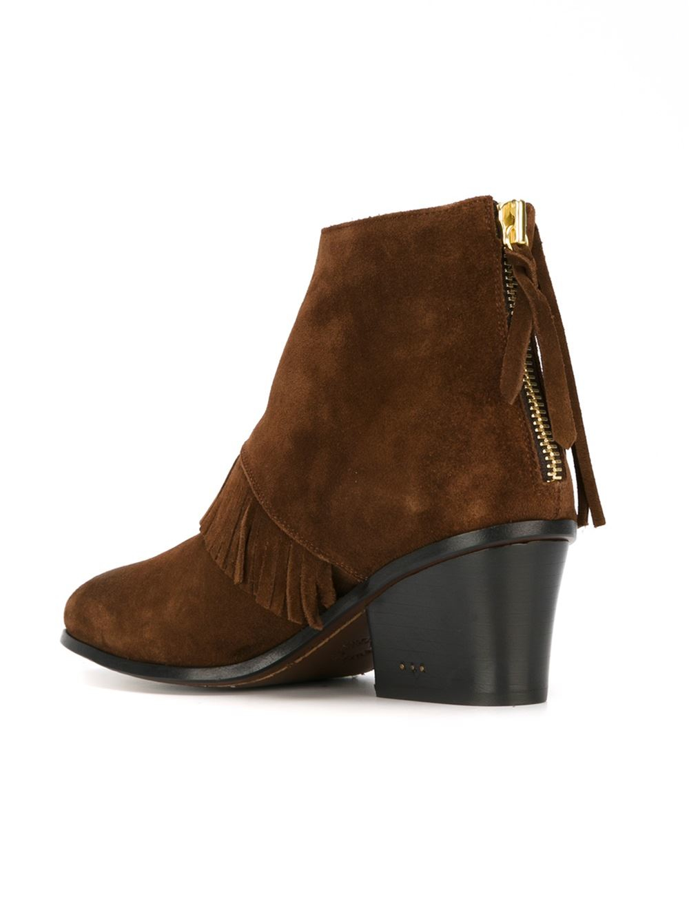 buttero fringed ankle boots in brown lyst