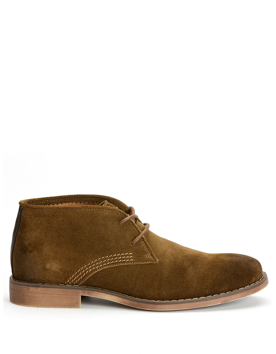 calvin klein orrick suede chukka boots in brown for