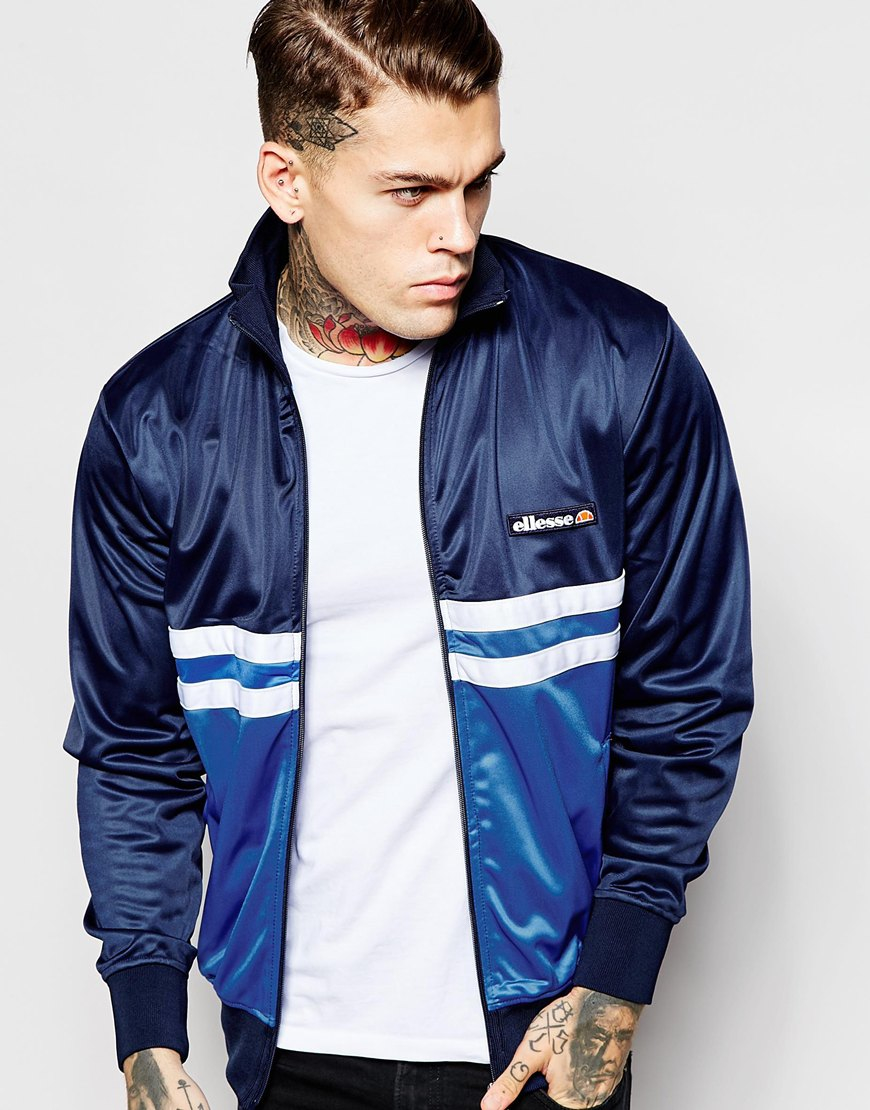 ellesse castro track jacket in blue for lyst