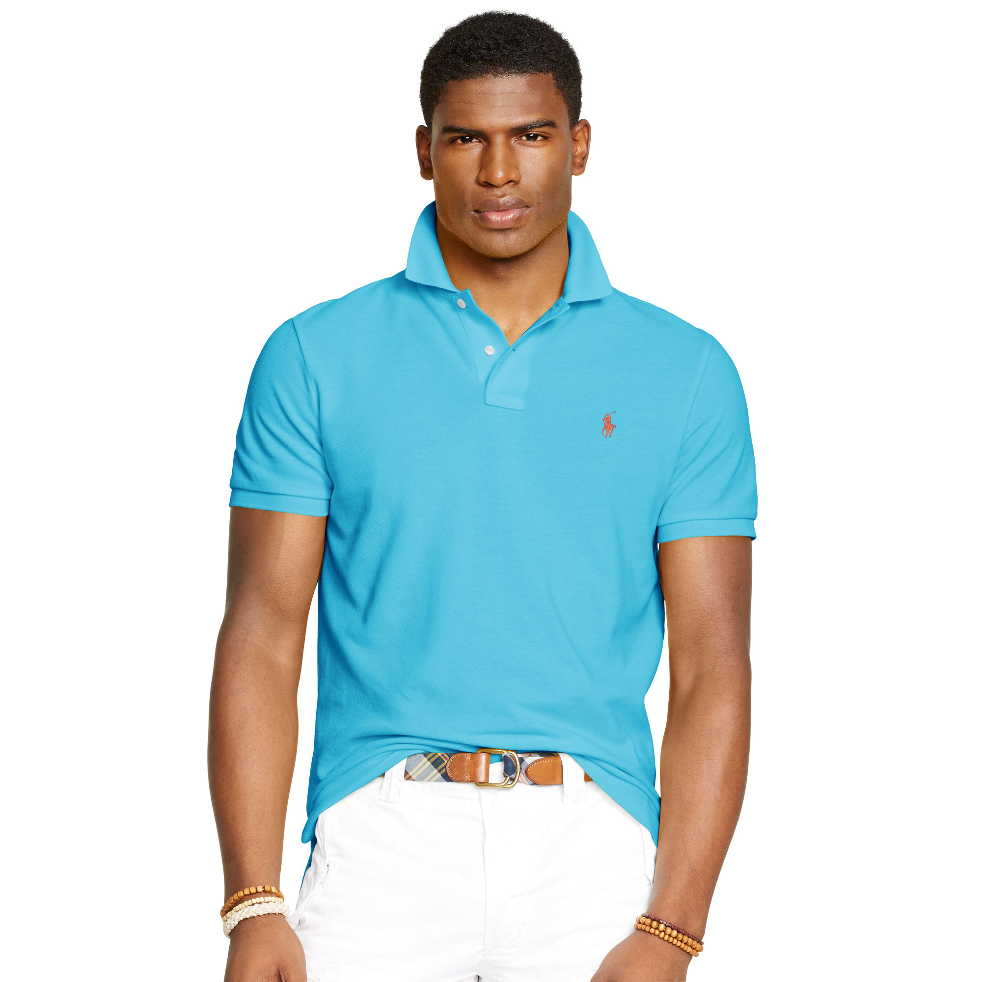 066aab6f Polo Ralph Lauren Custom-fit Mesh Polo Shirt in Blue for Men - Lyst