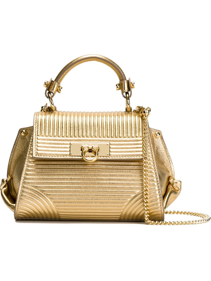 6c95549ad57 Ferragamo Mini  sofia  Tote in Metallic - Lyst