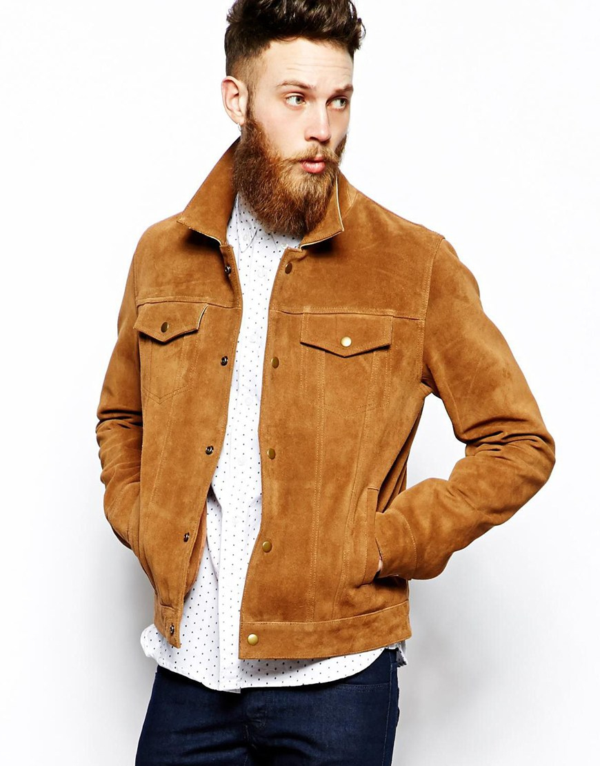 Asos Suede Western Jacket in Brown for Men | Lyst