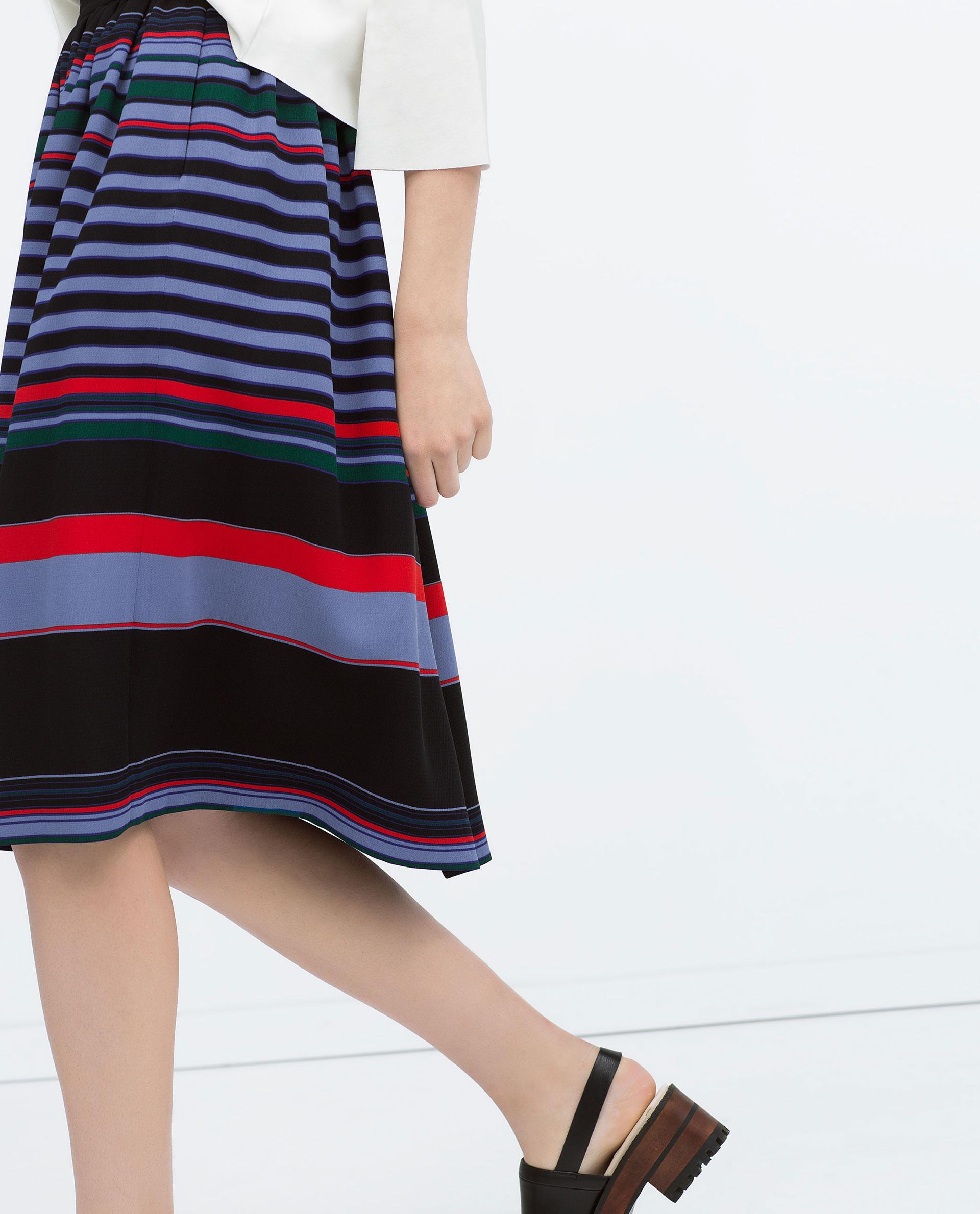 Zara Striped Full Midi Skirt Striped Full Midi Skirt in Blue | Lyst
