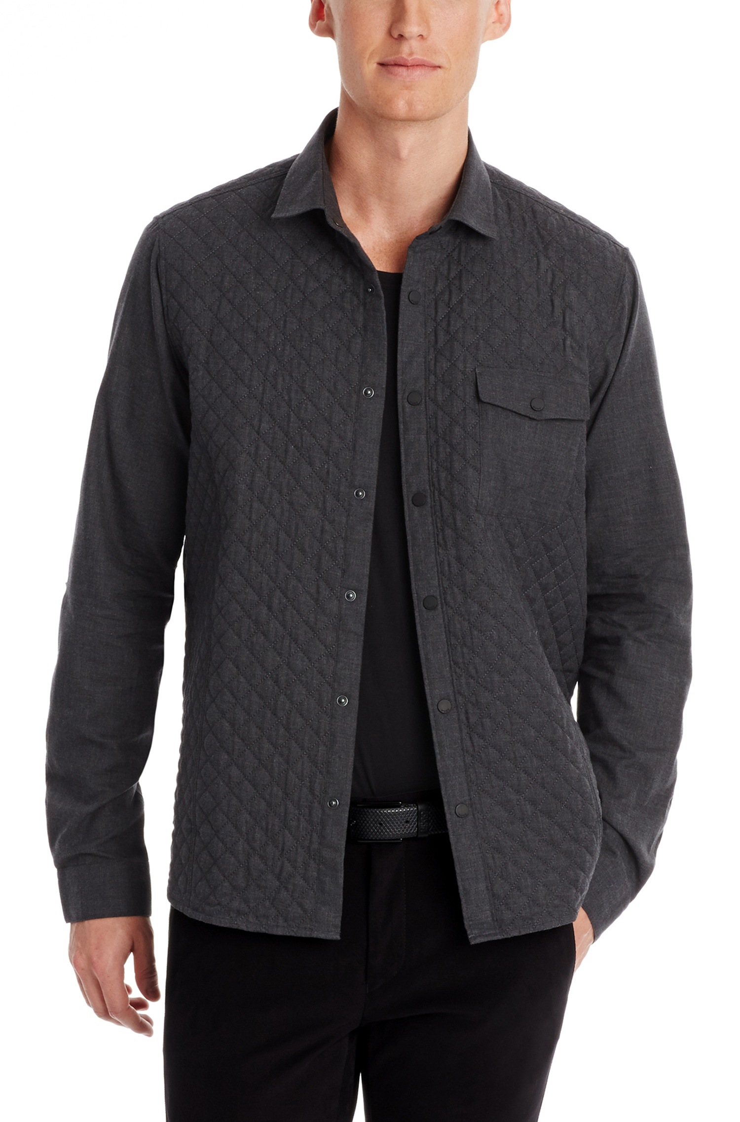 Hugo ernd slim fit cotton quilted button down shirt in for Athletic fit button down shirts
