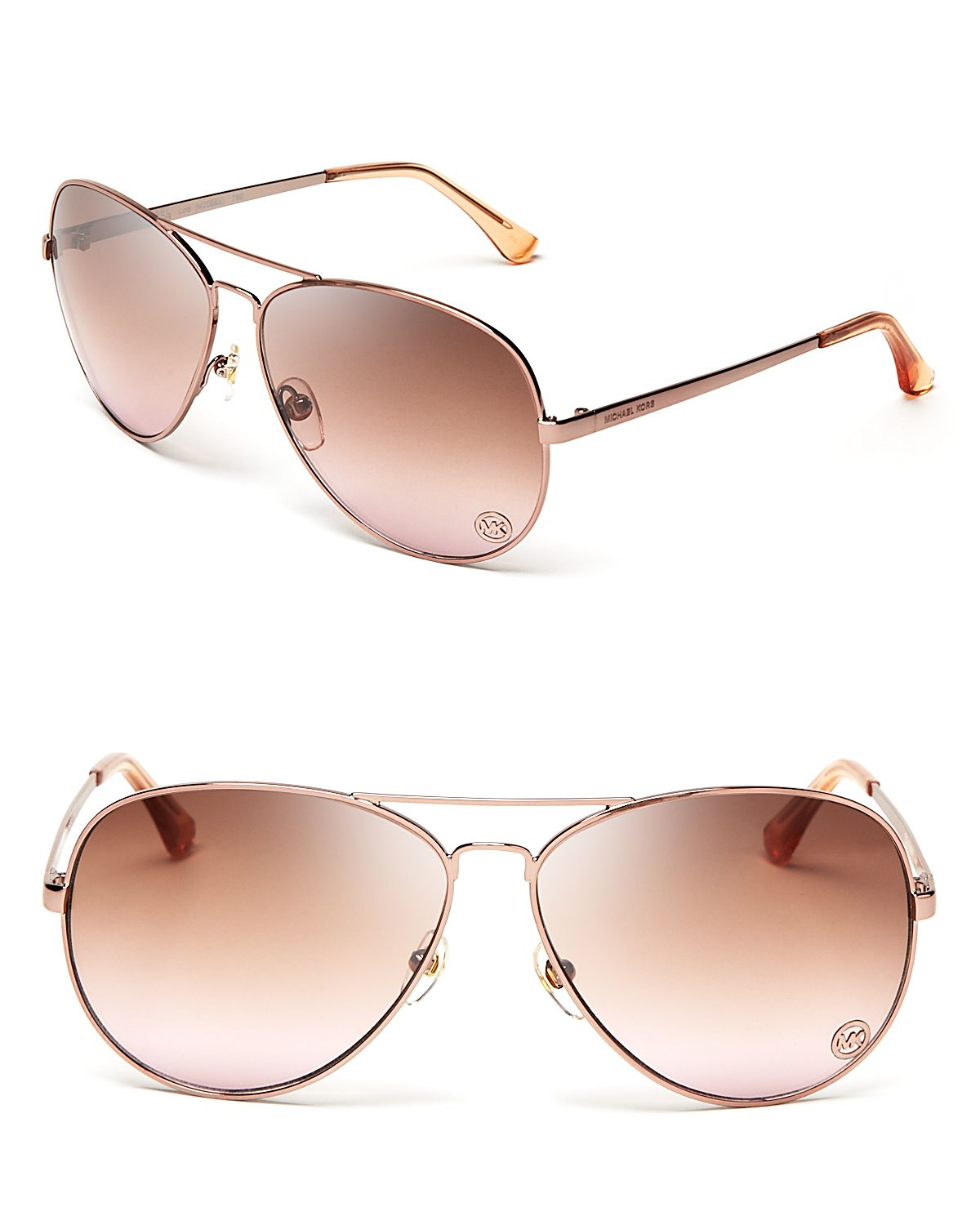 Michael Kors Rose Gold Sunglasses  michael kors michael lola charm aviator sunglasses in metallic lyst