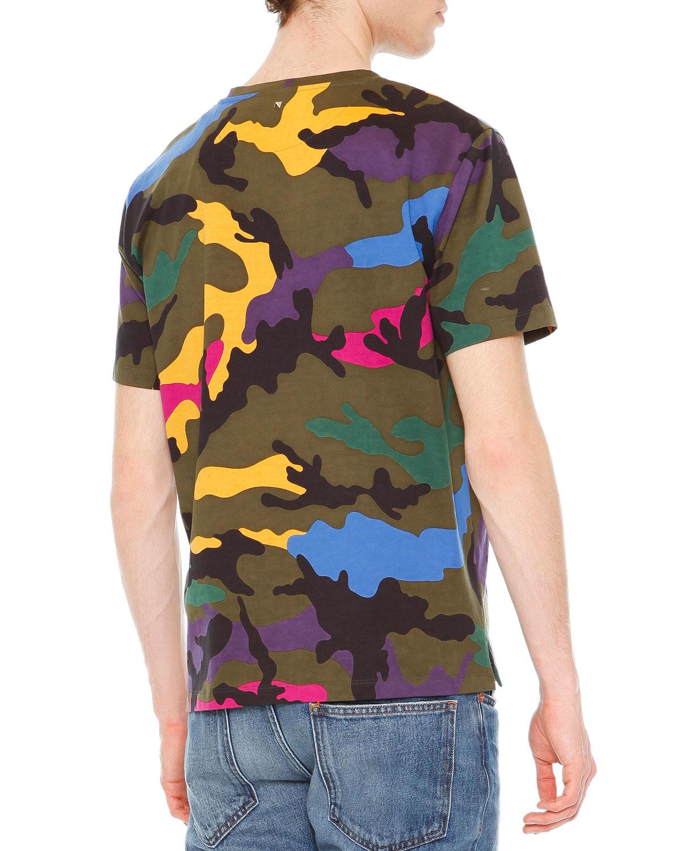 Valentino camo print crewneck t shirt for men lyst for Camo print t shirt