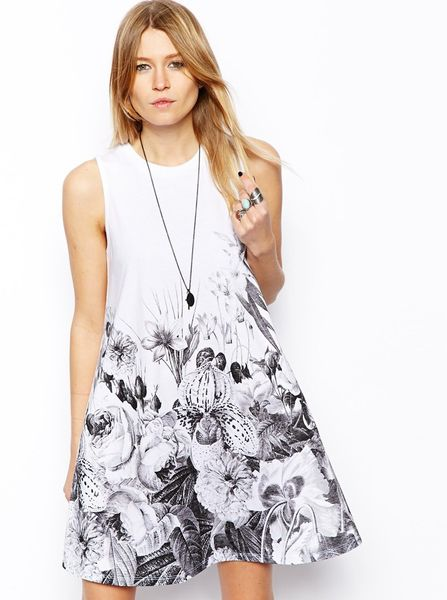 Asos Swing Dress With Floral Border Print In Blue White