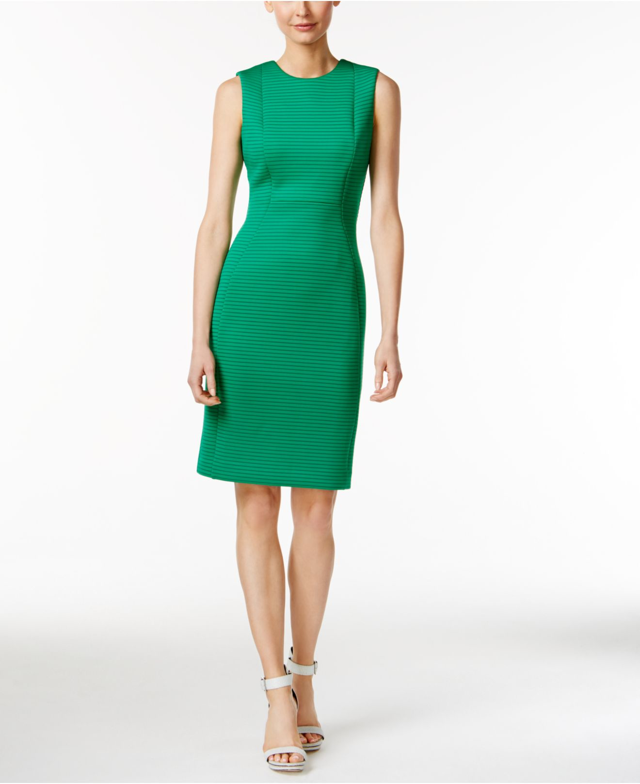 af23706a45a6f6 Lyst - Calvin Klein Sleeveless Striped Sheath Dress in Green