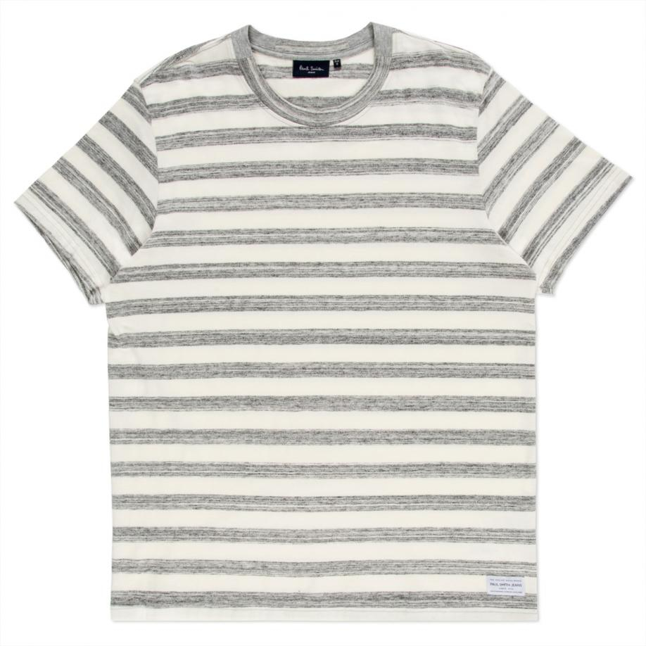 a9b8f5916d Paul Smith Men's Grey Marl And Ecru Thick-stripe T-shirt in White ...