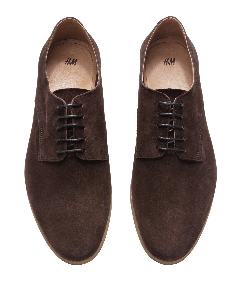 Mens Brown Suede Derby Shoes
