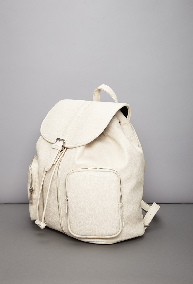 Forever 21 Faux Leather Drawstring Backpack in Natural | Lyst