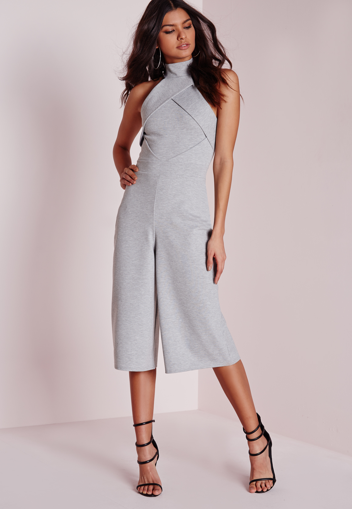 4ae6e34c697 Lyst - Missguided Origami Culotte Jumpsuit Grey in Gray