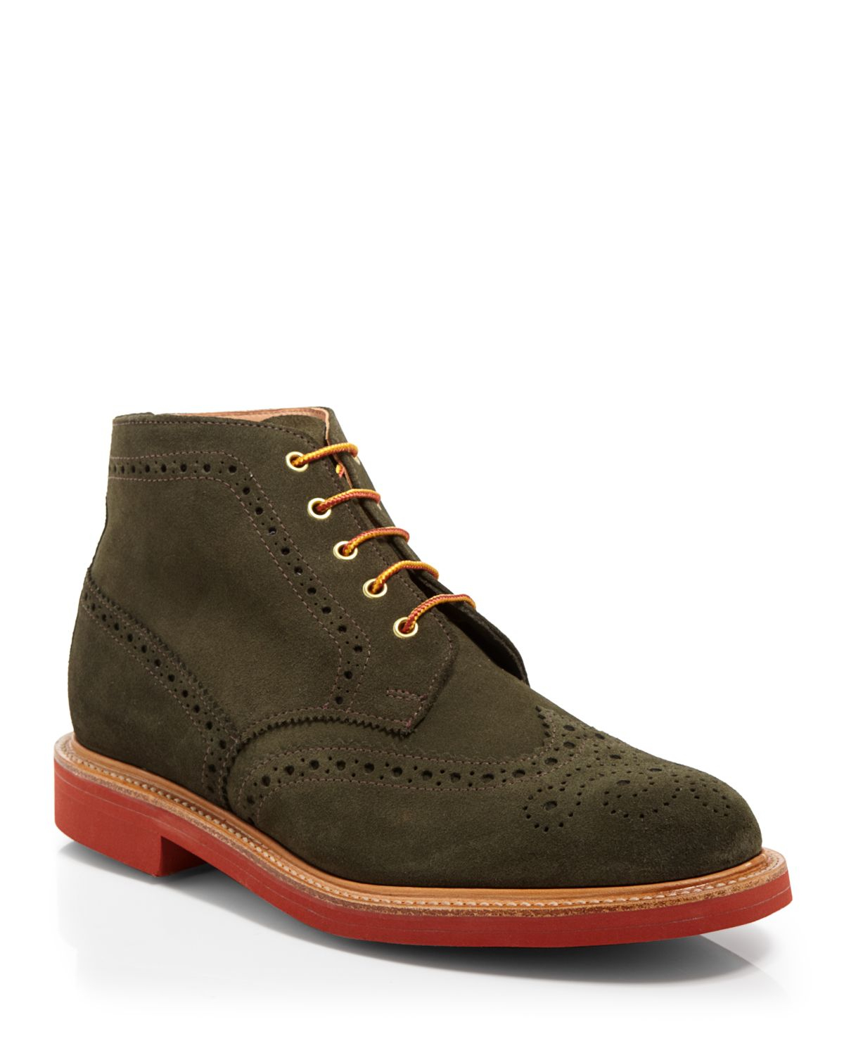 mcnairy new amsterdam wingtip boots in green for