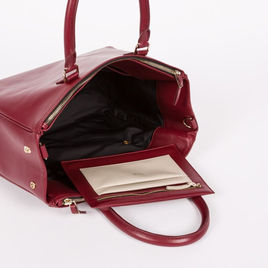 adc0c583023a Lyst - Paul Smith Women s Damson Calf Leather Double-zip Tote Bag in ...
