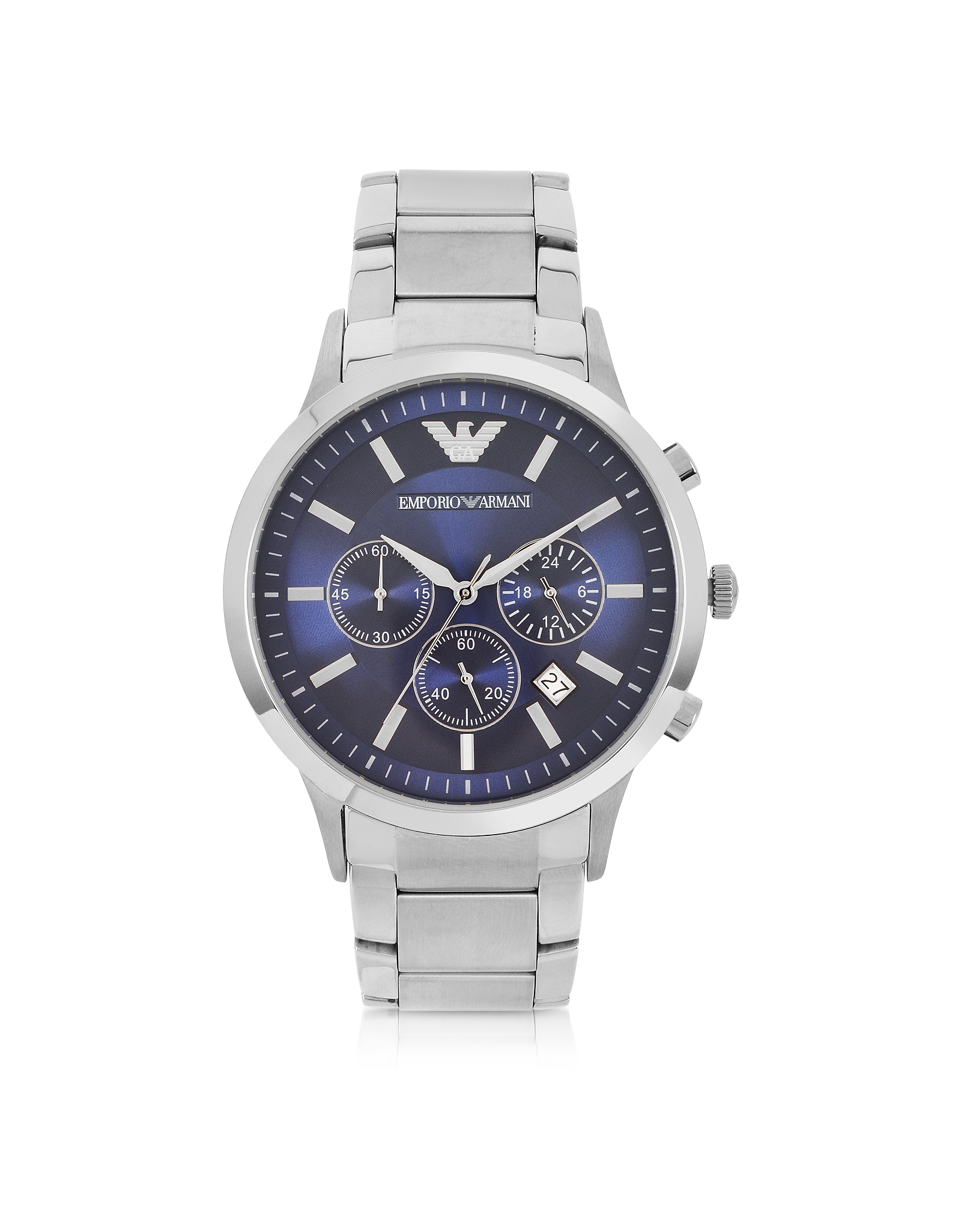 Lyst Emporio Armani Men S Blue Dial Stainless Steel