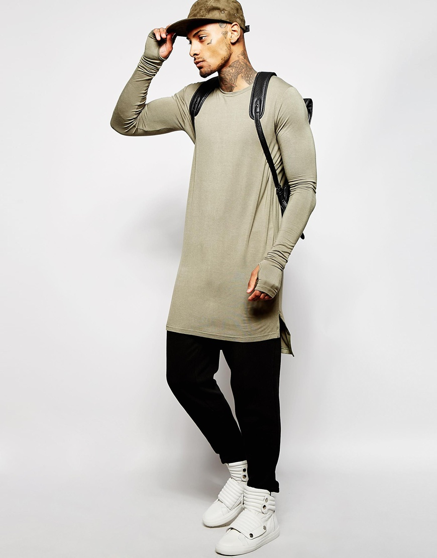 Underated Super Longline Long Sleeve T Shirt In Green Lyst
