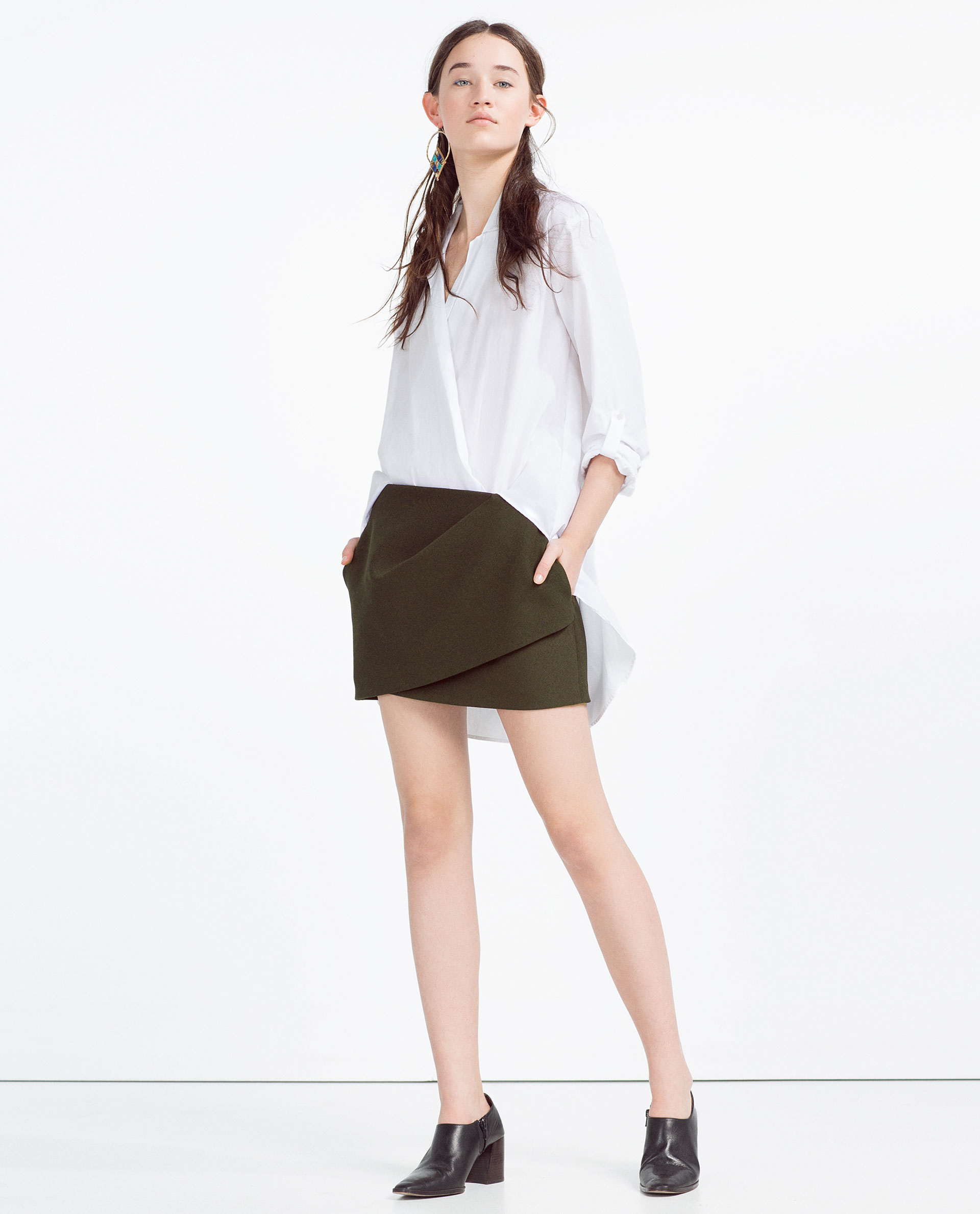 zara mini draped skirt in green lyst