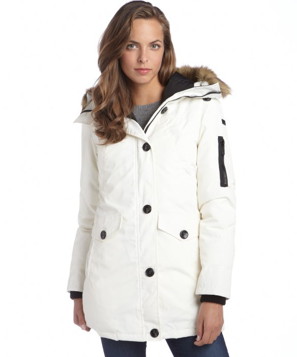 Vince camuto Winter White Faux Fur Trim Hooded Drawstring Down ...