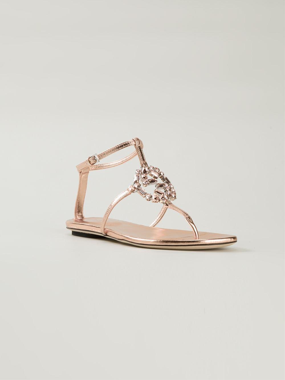 Lyst - Gucci  gg  Flat Sandals in Pink 76e2e4860