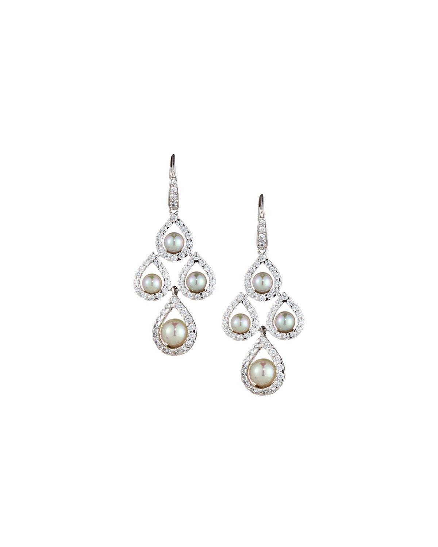 Lyst majorica pearl chandelier earrings in white gallery arubaitofo Gallery