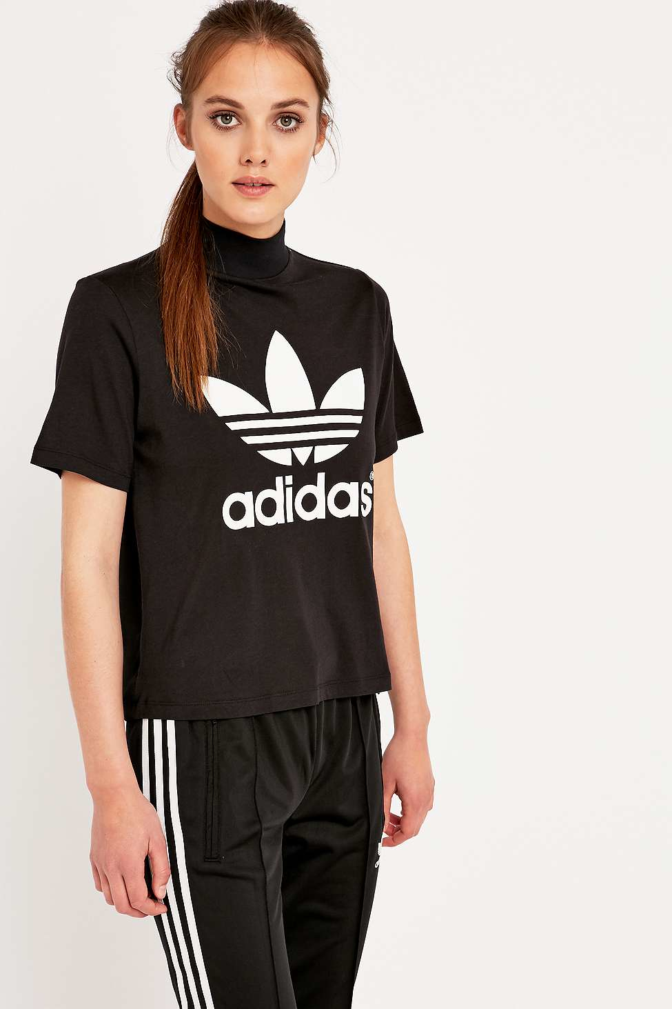 Lyst adidas berlin black high neck t shirt in black for High neck tee shirts