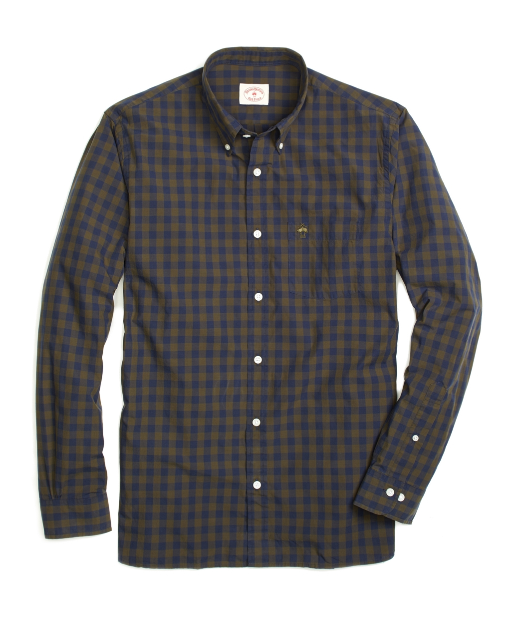 Brooks brothers check sport shirt in green for men lyst for Brooks brothers sports shirts