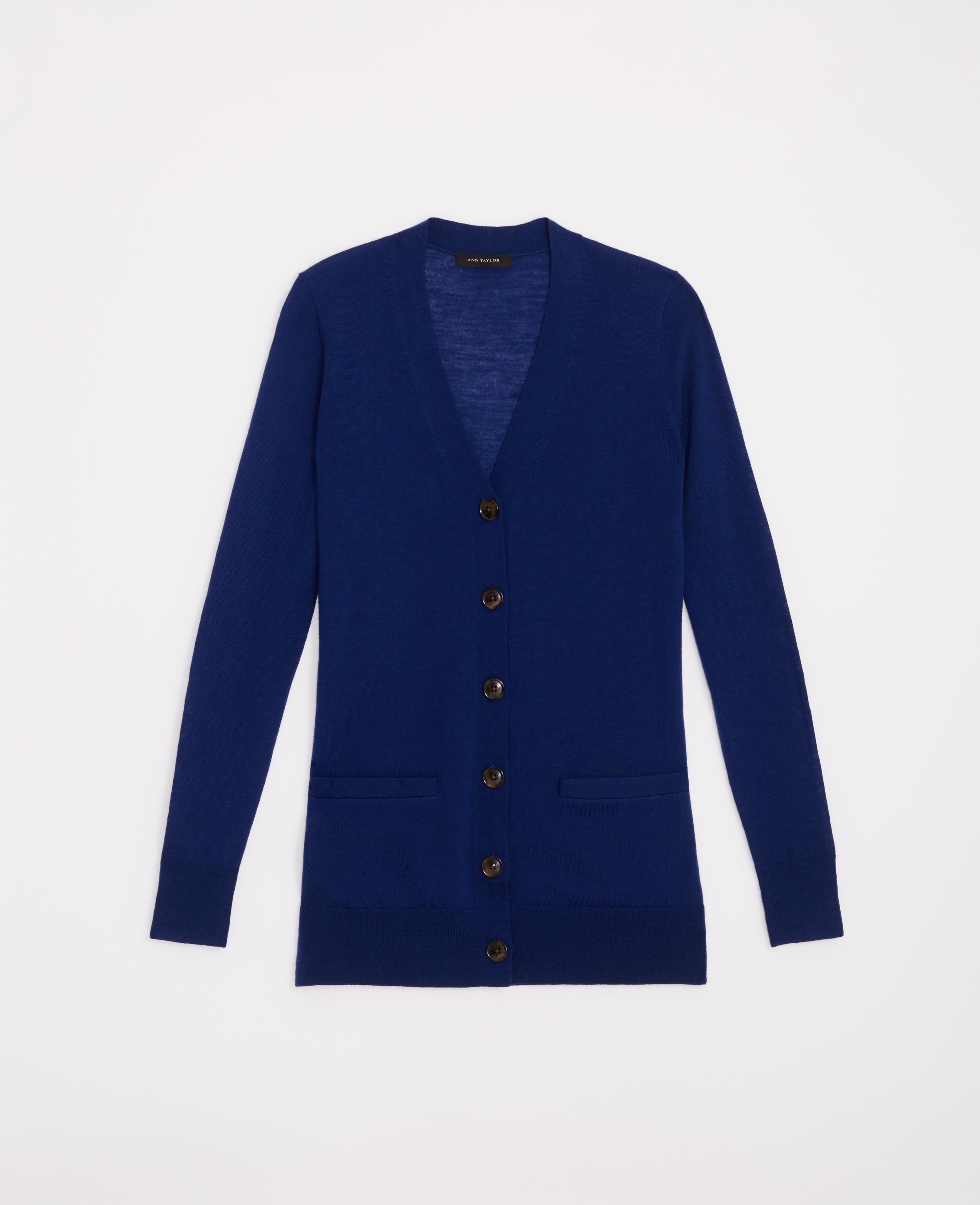 Ann taylor Merino Wool Boyfriend Cardigan in Blue | Lyst