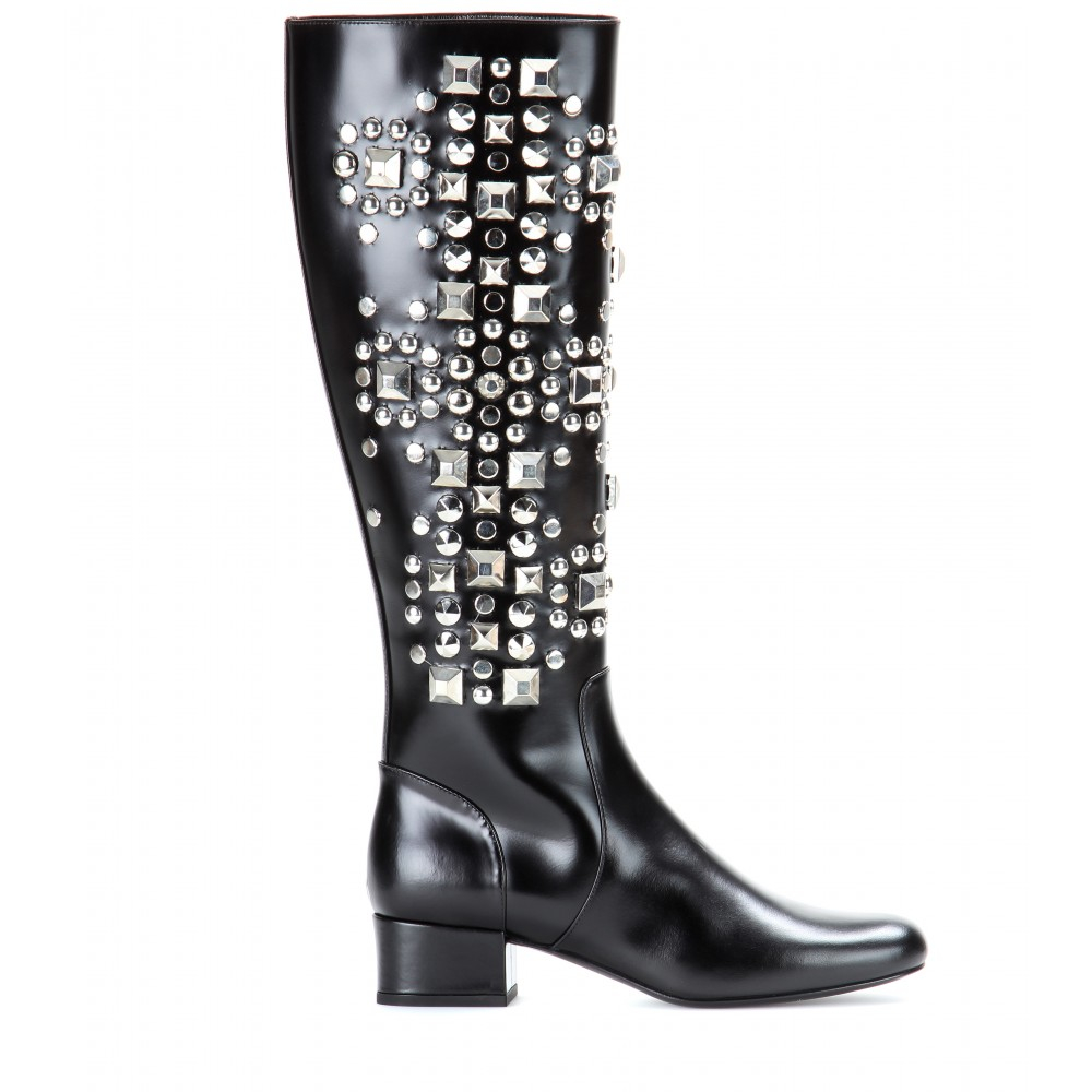 5c246ad9994 Saint Laurent Babies Studded Leather Boots in Black - Lyst