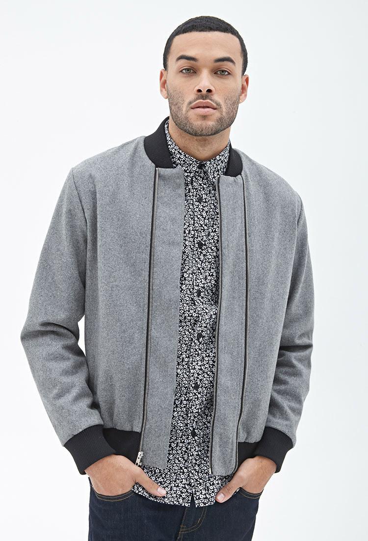 Forever 21 Wool Blend Bomber Jacket In Gray For Men Lyst