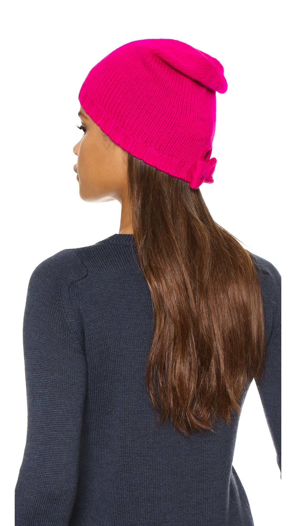 Lyst - Kate Spade New York Gathered Bow Beanie in Pink bc0f1ff96d8