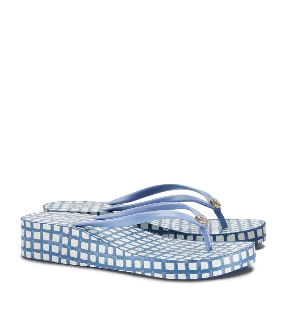 7b31a96180e6 Tory Burch Thandie Wedge Flip-flop in Blue - Lyst