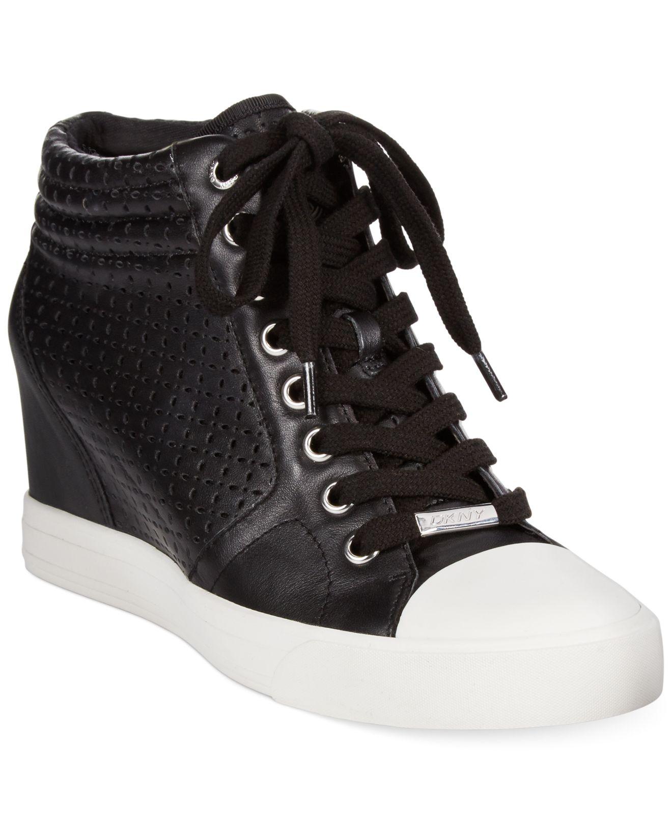 1adb016a5399 Lyst - DKNY Cindy Wedge Sneakers in Black