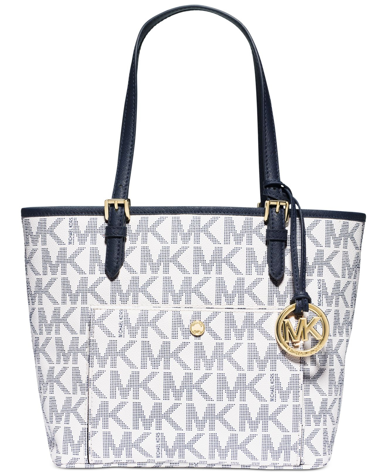 caa7debad91b ... 50% off lyst michael kors michael jet set medium snap pocket tote in  blue 604b7