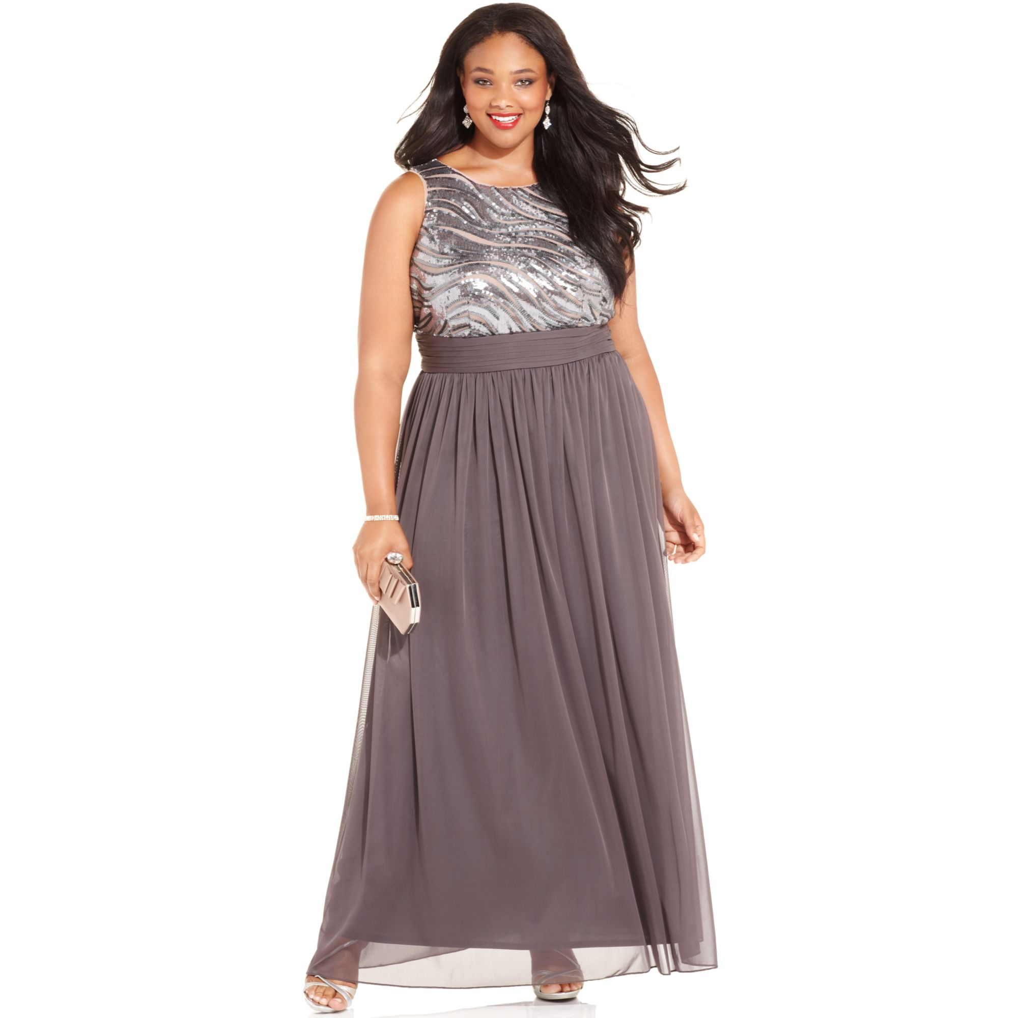 9450748e582 Betsy   Adam Plus Size Sequin Chiffon Gown in Gray - Lyst