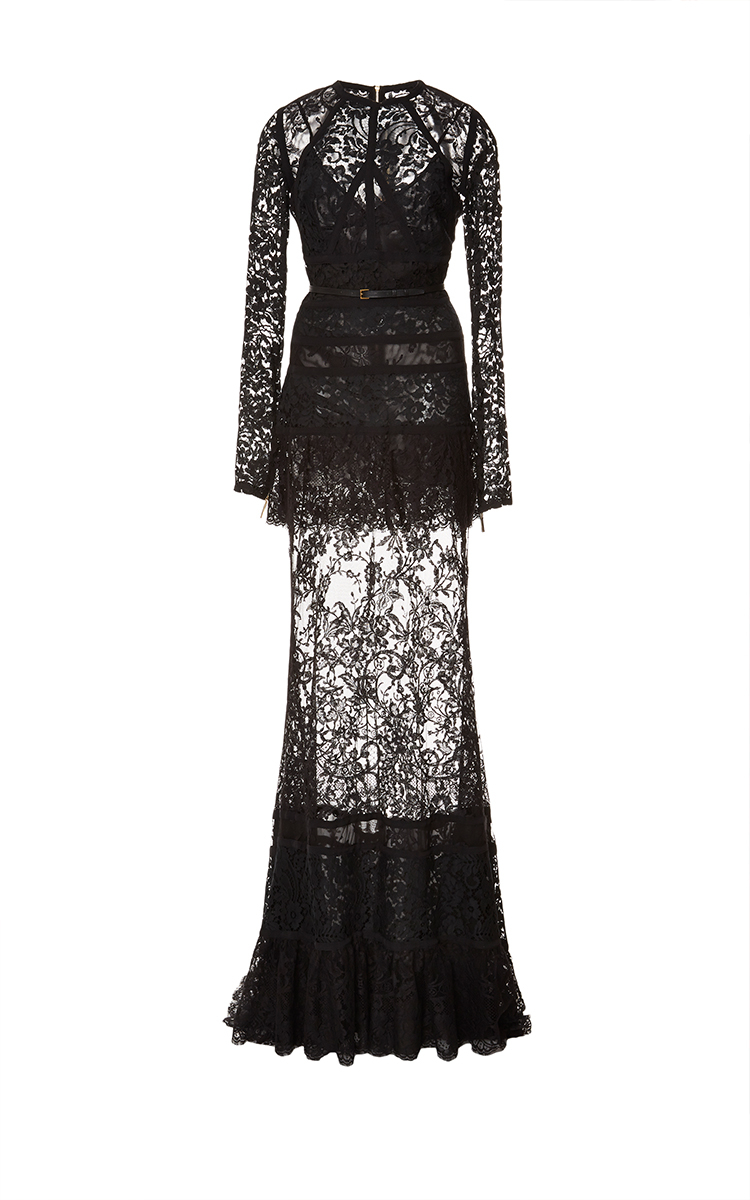 e9dc2a0d43 Elie Saab Long Sleeve Lace and Silk Georgette Gown in Black - Lyst