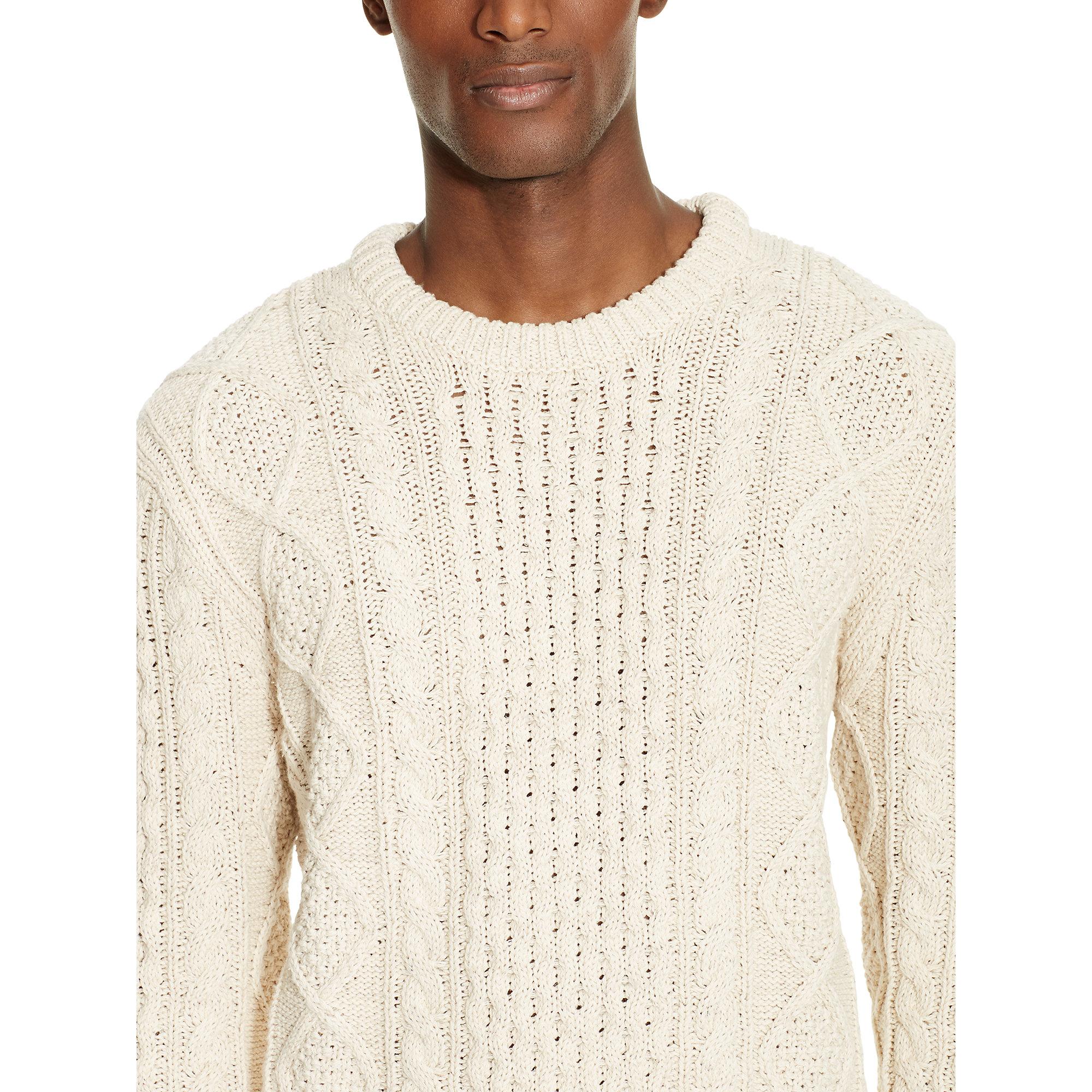 Polo ralph lauren Aran-knit Cotton Sweater in White for Men | Lyst