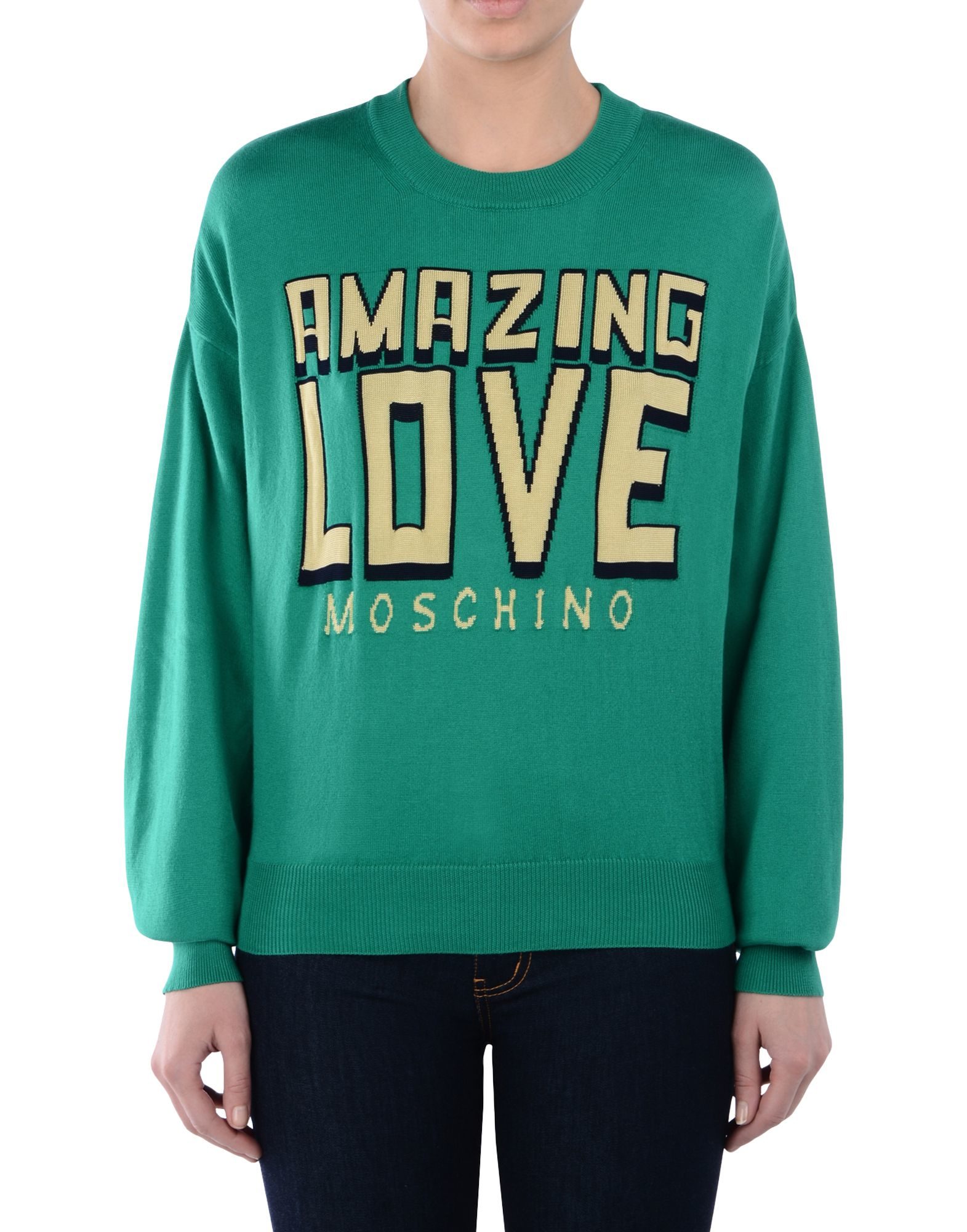 love moschino long sleeve sweater in green lyst. Black Bedroom Furniture Sets. Home Design Ideas